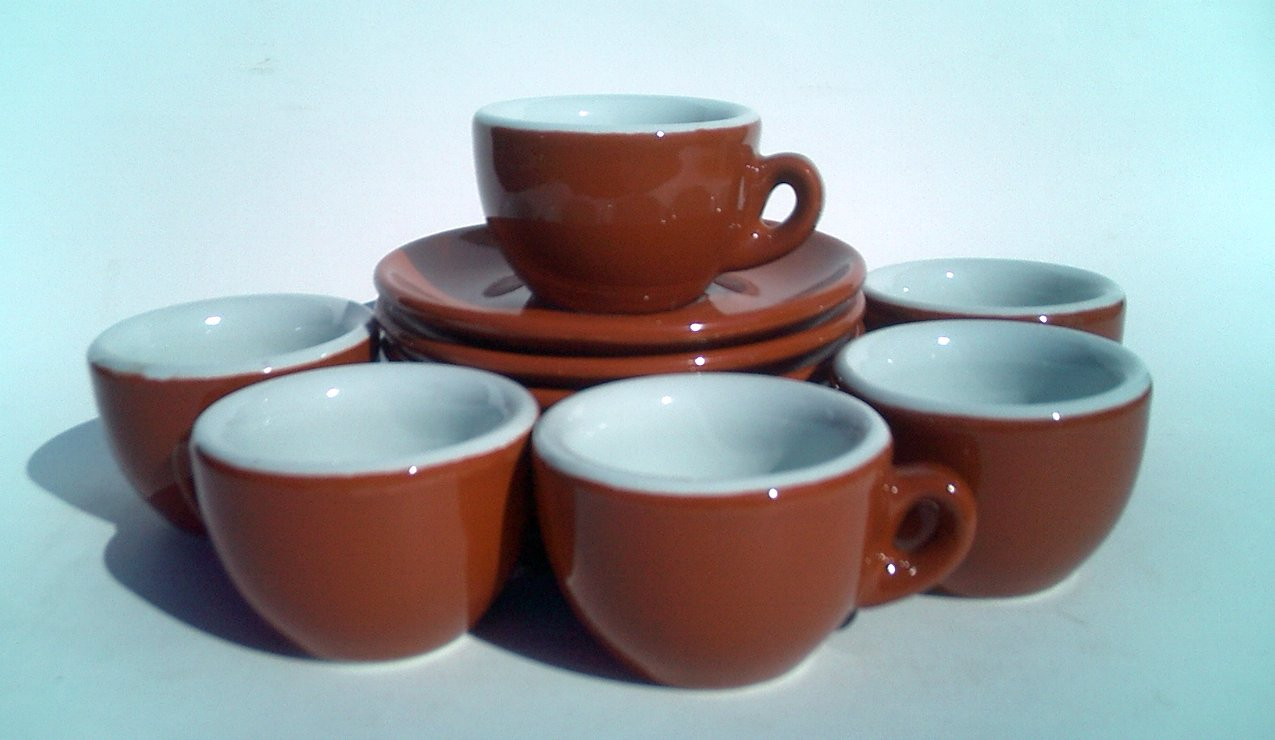 Nuova Point 'Sorrento' Brown Demitasse Espresso Cups larger image
